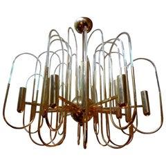 Gaetano Sciolari Italian Brass and Glass Chandelier