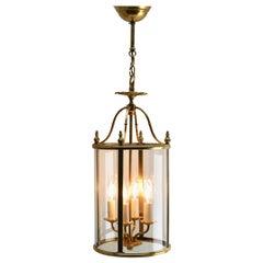 Gaetano Sciolari Italian Gilt Brass and Glass Lantern Empire Style Signed
