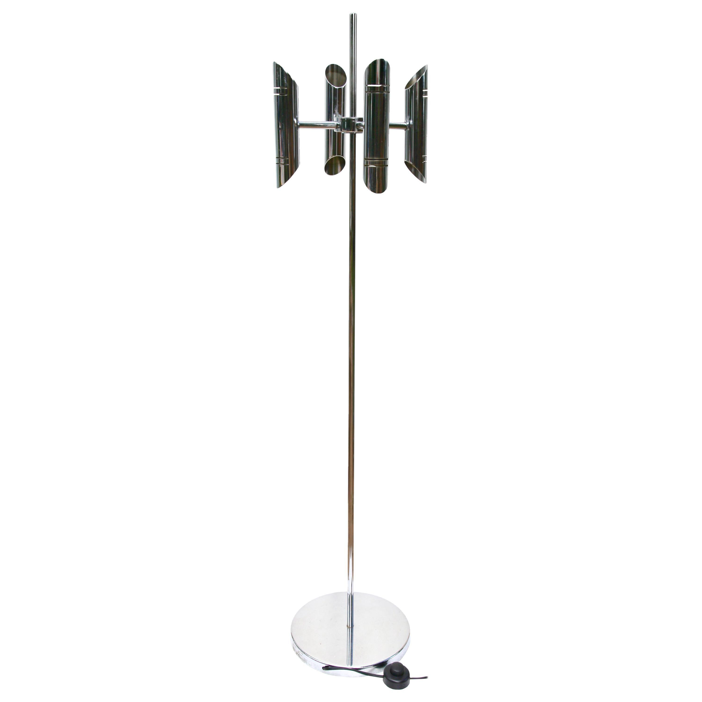 Gaetano Sciolari Italian Modern Chrome Floor Lamp whit 4 Arms