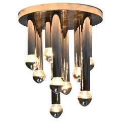 Gaetano Sciolari Large Flush Mount Ceiling Lamp Boulanger, Italy, 1960