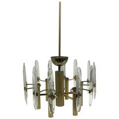 Gaetano Sciolari Mid-Century Modern Brass and Glass Chandelier, circa 1960