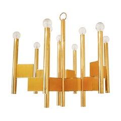 Gaetano Sciolari Mid-Century Modern Brass Italian Suspension Lamp
