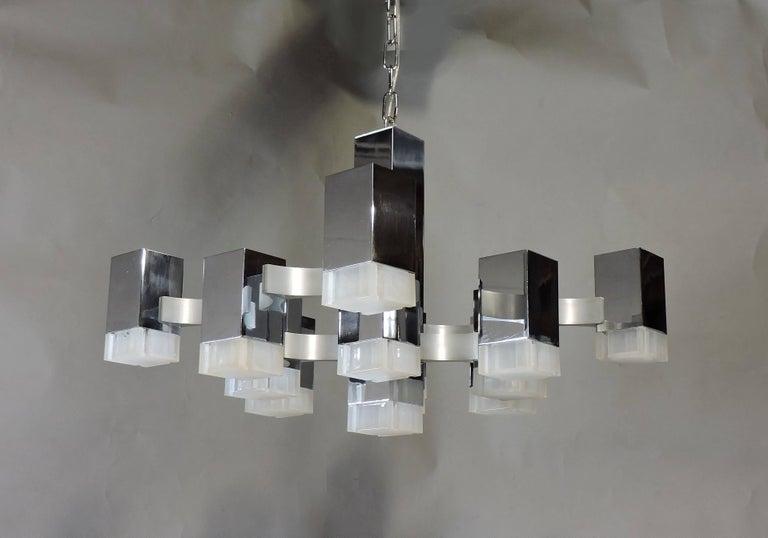 Gaetano Sciolari Mid-Century Modern Chrome Cubic Chandelier Thirteen-Light For Sale 4