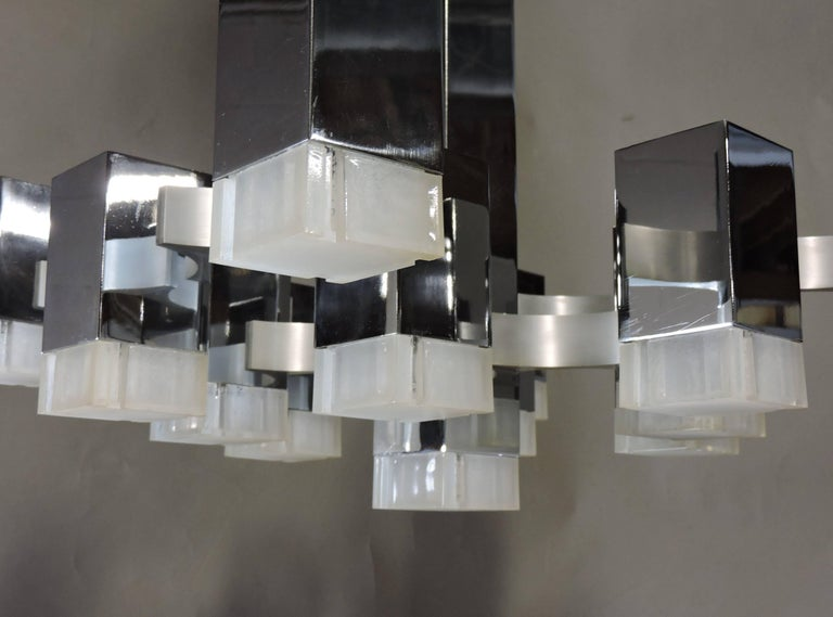 Italian Gaetano Sciolari Mid-Century Modern Chrome Cubic Chandelier Thirteen-Light For Sale