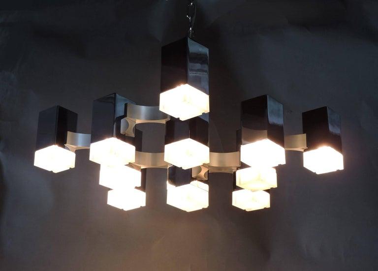 Gaetano Sciolari Mid-Century Modern Chrome Cubic Chandelier Thirteen-Light For Sale 3