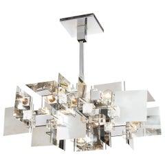Gaetano Sciolari Mid-Century Modern Cubist Polished Chrome and Lucite Chandelier