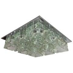 Mid-Century Gaetano Sciolari Nine-Light Crystal Cube Flush Mount Lamp Lightolier