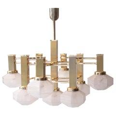 Gaetano Sciolari Midcentury Polyhedral White Brass Suspension Lamp. Italy, 1960
