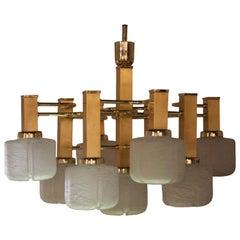 Gaetano Sciolari Midcentury Polyhedral White Brass Suspension Lamp, Italy, 1960