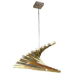 Gaetano Sciolari Modern Spiraling Chandelier in Chrome and Brass