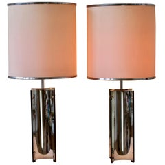 Gaetano Sciolari Oversized Pair of 1970s Vintage Italian Steel Table Lamps