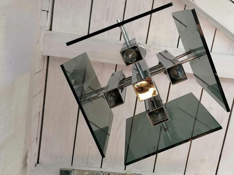 Mid-20th Century Gaetano Sciolari Pendant Lamp Chandelier For Sale