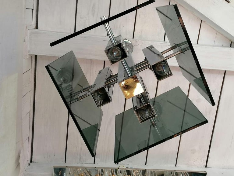 Brass Gaetano Sciolari Pendant Lamp Chandelier For Sale