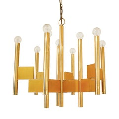 Gaetano Sciolari Polish and Matte Brass Suspension Light, Italy, 1970s
