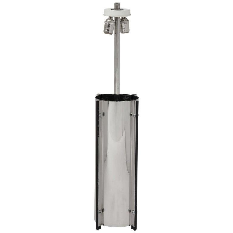 Gaetano Scolari Chrome Steell Lamp Screw Studded Construction, Italy, circa 1970 For Sale
