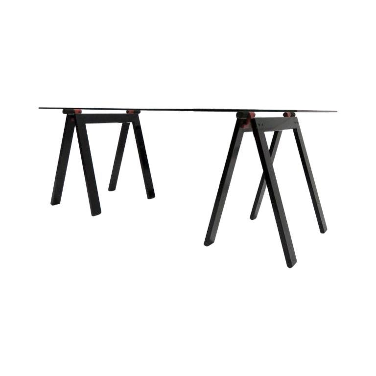 "Gae Aulenti Midcentury Black Metal and Glass ""Gaetano"" Table for Zanotta, 1970 For Sale"