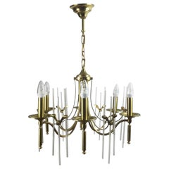Gaeteno Sciolari Brass and Glass Chandelier, Italy, 1960s