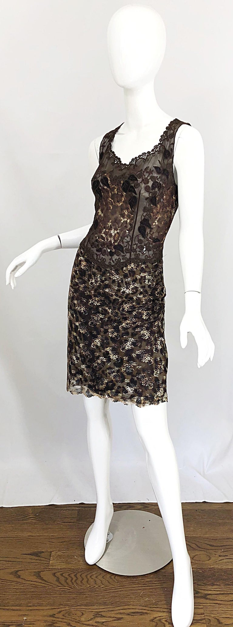 Gai Mattiolo 1990s Sexy Semi Sheer Leopard Brown Metallic Vintage 90s Dress For Sale 5