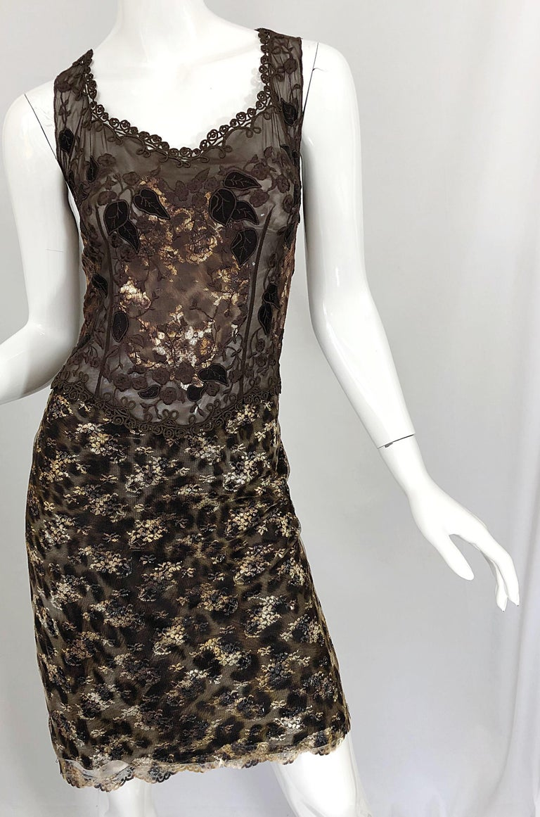 Gai Mattiolo 1990s Sexy Semi Sheer Leopard Brown Metallic Vintage 90s Dress For Sale 6