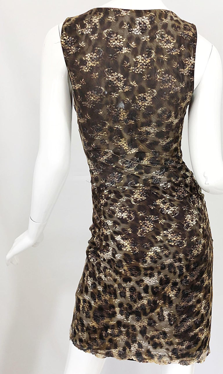 Gai Mattiolo 1990s Sexy Semi Sheer Leopard Brown Metallic Vintage 90s Dress For Sale 7