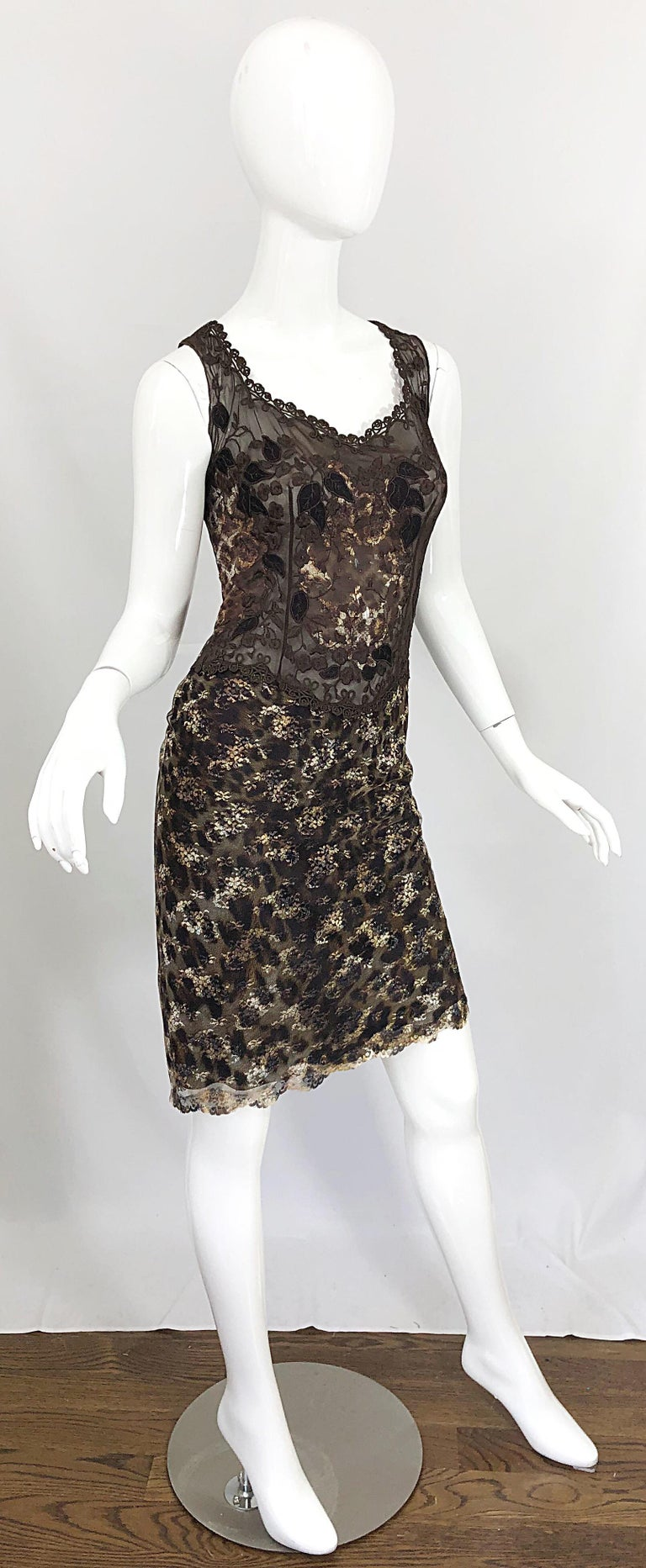 Gai Mattiolo 1990s Sexy Semi Sheer Leopard Brown Metallic Vintage 90s Dress For Sale 8