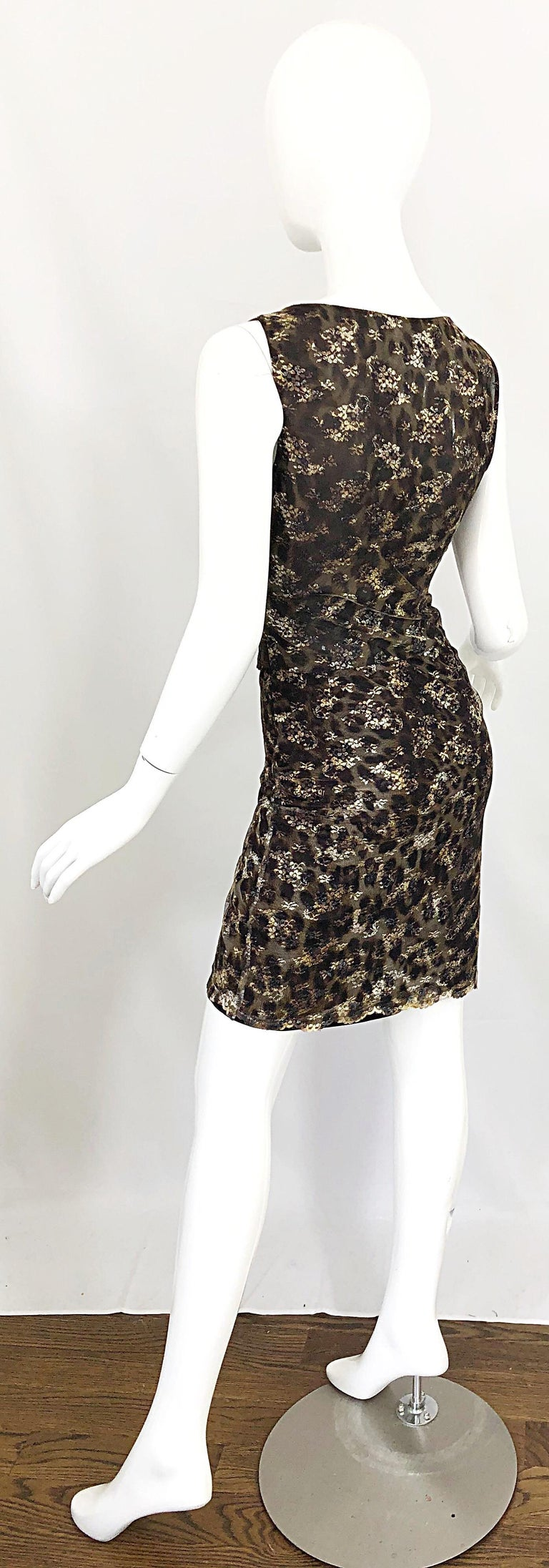 Gai Mattiolo 1990s Sexy Semi Sheer Leopard Brown Metallic Vintage 90s Dress For Sale 9