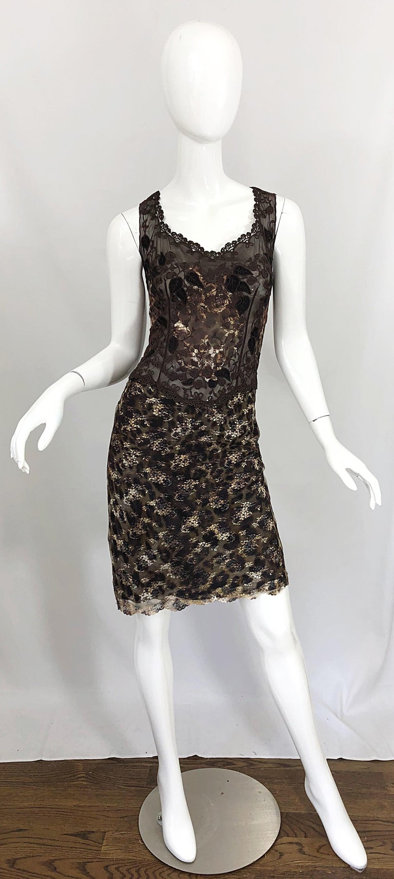 Gai Mattiolo 1990s Sexy Semi Sheer Leopard Brown Metallic Vintage 90s Dress For Sale 10