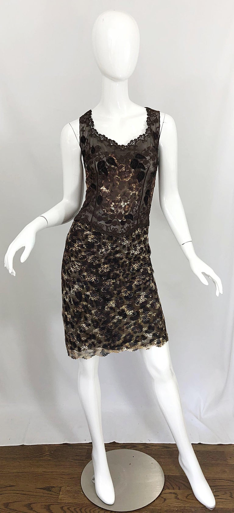 Sexy late 90s GAI MATTIOLO vintage semi sheer leopard print brown semi sheer sleeveless dress! Features intricate embroidery on the bodice, which covers the breasts. Gold, silver and bronze metallic embroidery throughout the entire dress. Hidden