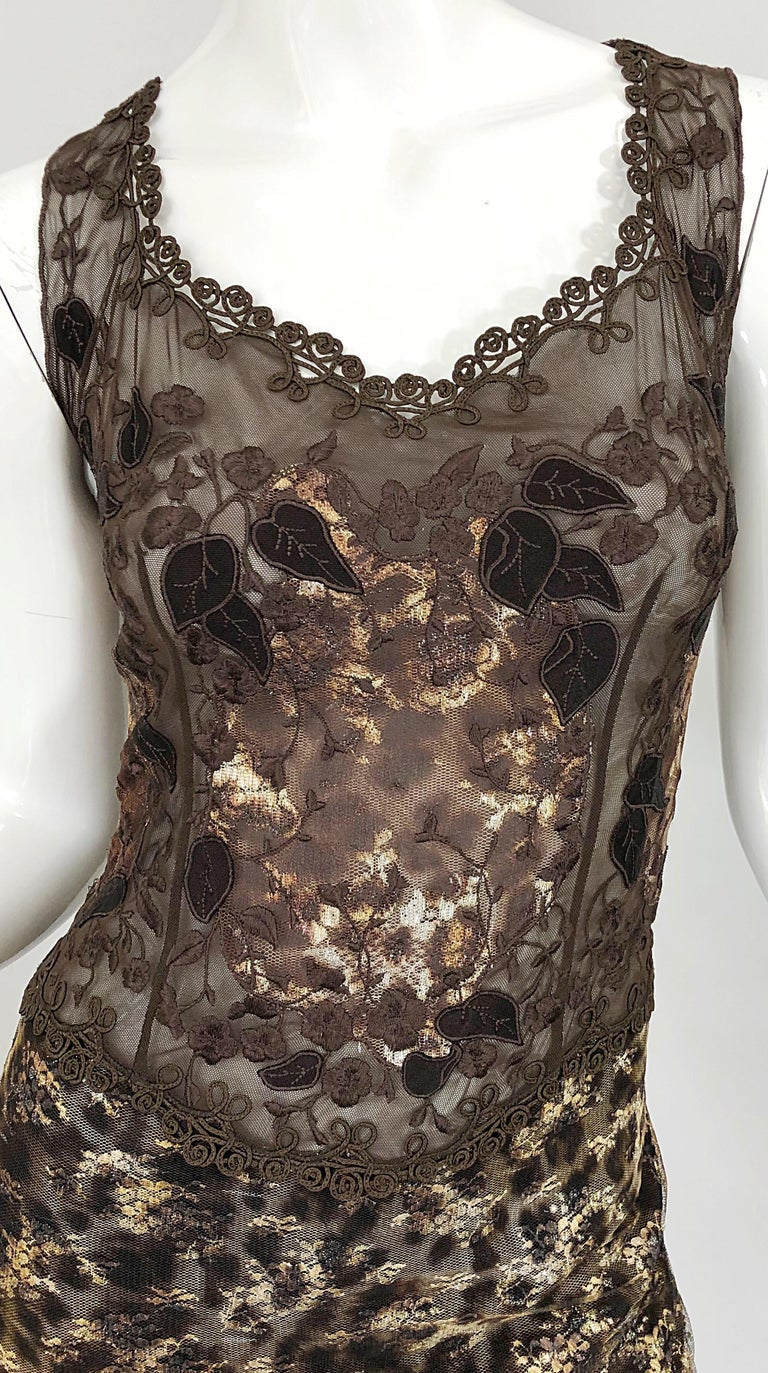 Gai Mattiolo 1990s Sexy Semi Sheer Leopard Brown Metallic Vintage 90s Dress In Excellent Condition For Sale In Chicago, IL