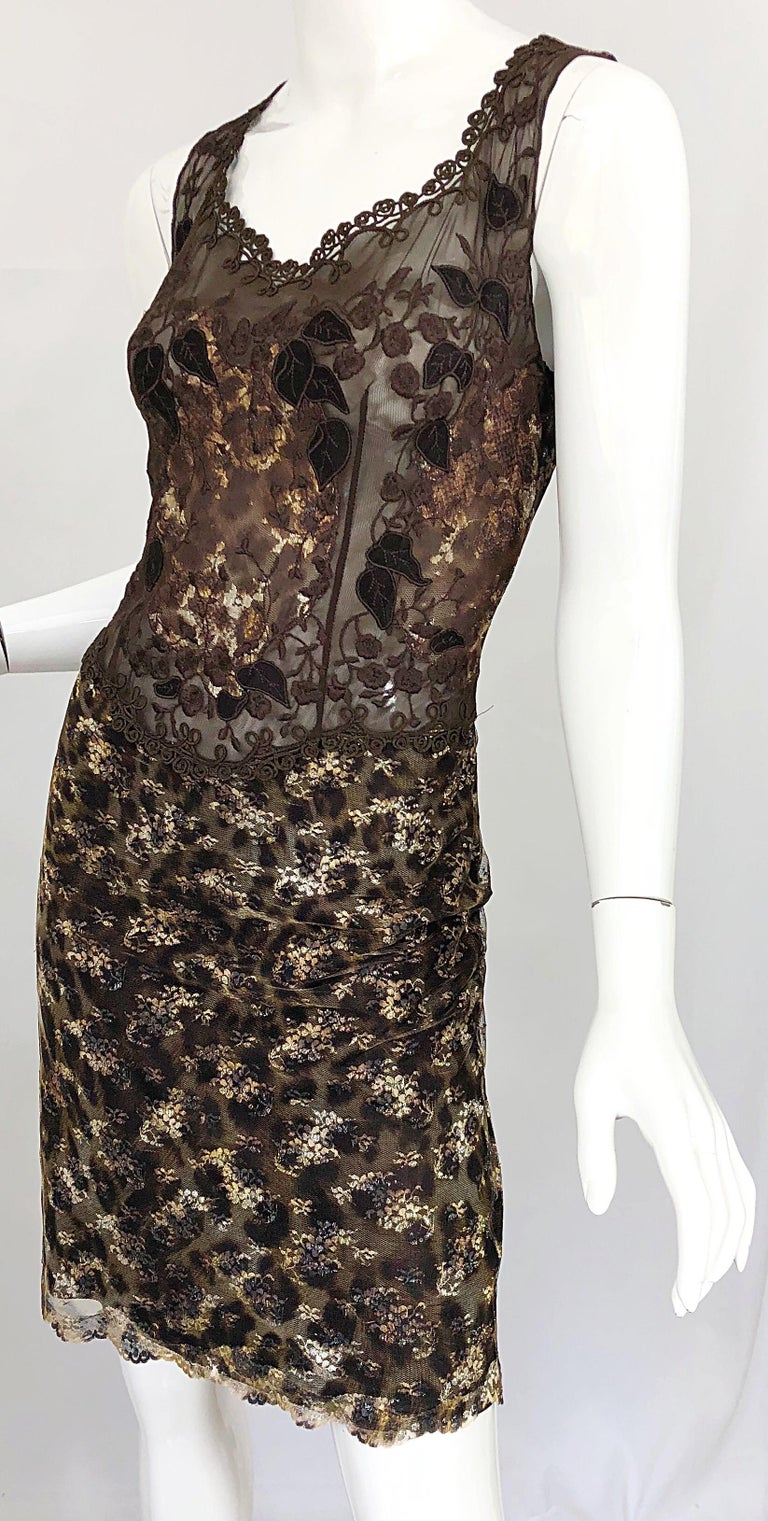 Gai Mattiolo 1990s Sexy Semi Sheer Leopard Brown Metallic Vintage 90s Dress For Sale 1