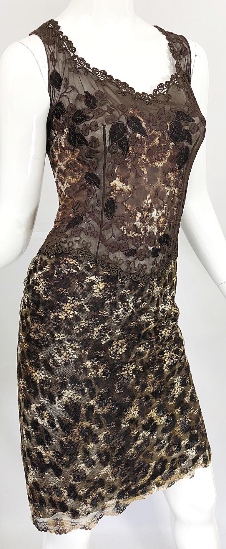 Gai Mattiolo 1990s Sexy Semi Sheer Leopard Brown Metallic Vintage 90s Dress For Sale 2