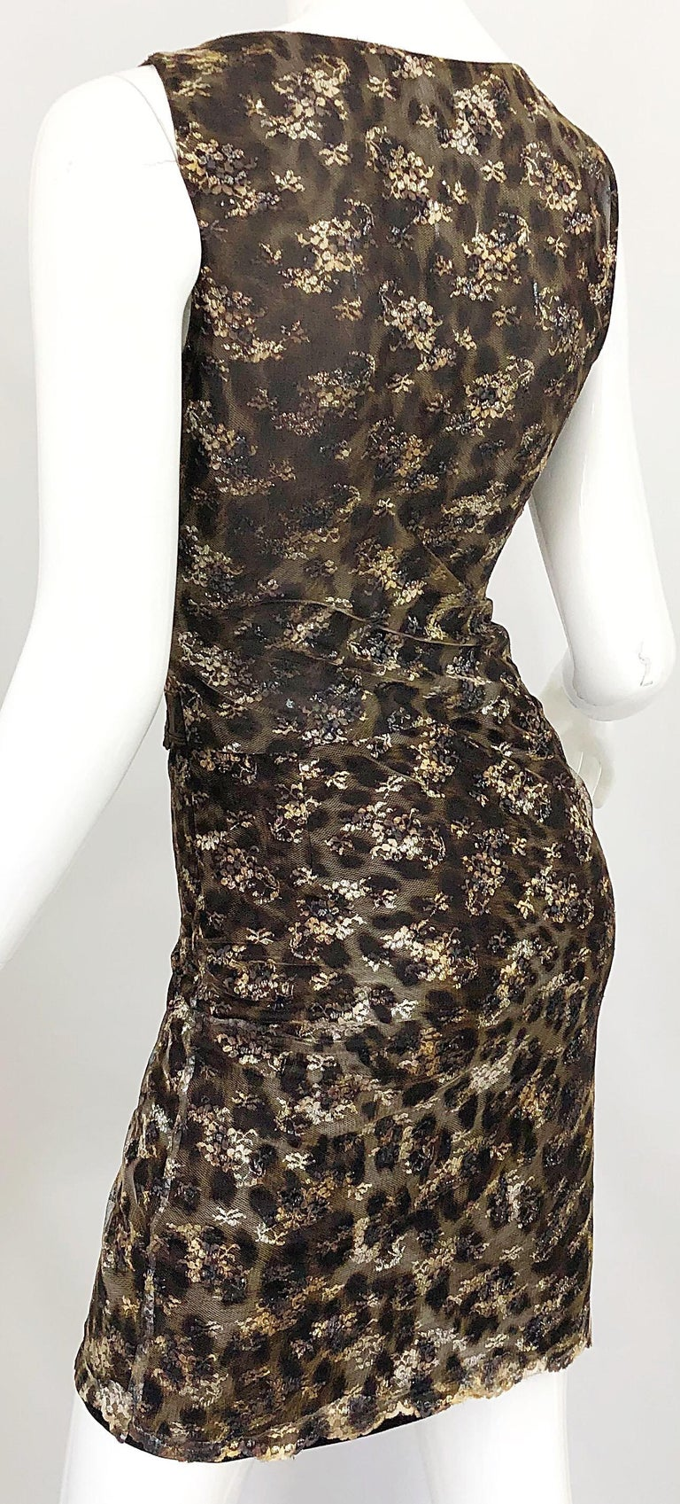 Gai Mattiolo 1990s Sexy Semi Sheer Leopard Brown Metallic Vintage 90s Dress For Sale 3