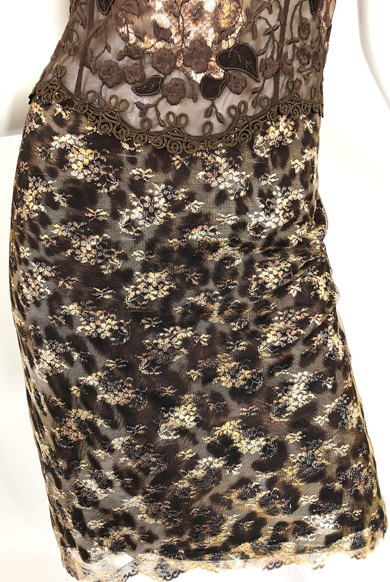 Gai Mattiolo 1990s Sexy Semi Sheer Leopard Brown Metallic Vintage 90s Dress For Sale 4