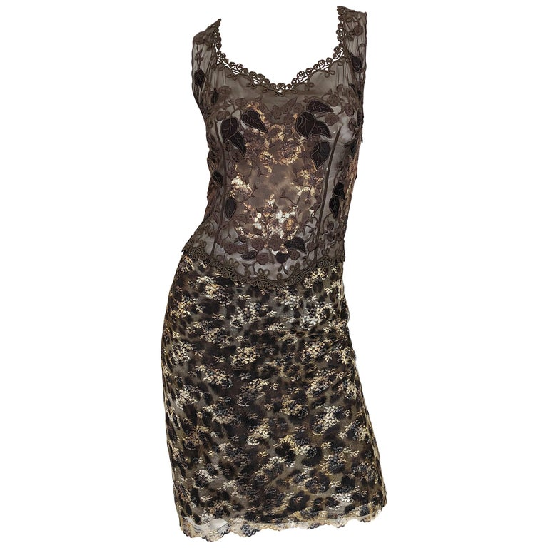 Gai Mattiolo 1990s Sexy Semi Sheer Leopard Brown Metallic Vintage 90s Dress For Sale