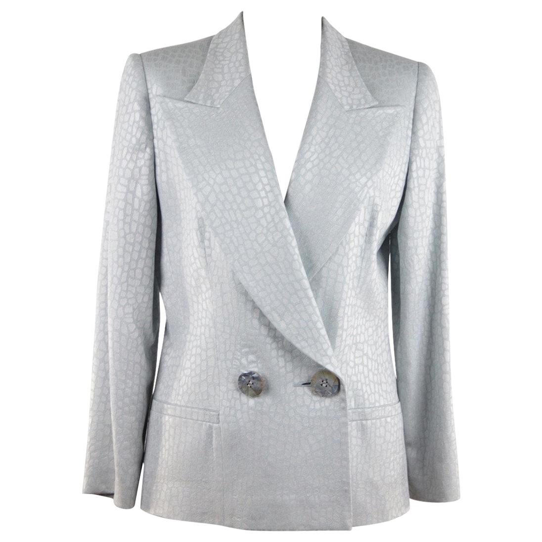 GAI MATTIOLO Baby Blue CROC LOOK Double Breasted BLAZER Jacket SZ 42 IT GT