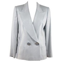 GAI MATTIOLO Baby Blue CROC LOOK Double Breasted BLAZER Jacket SZ 42 IT GT