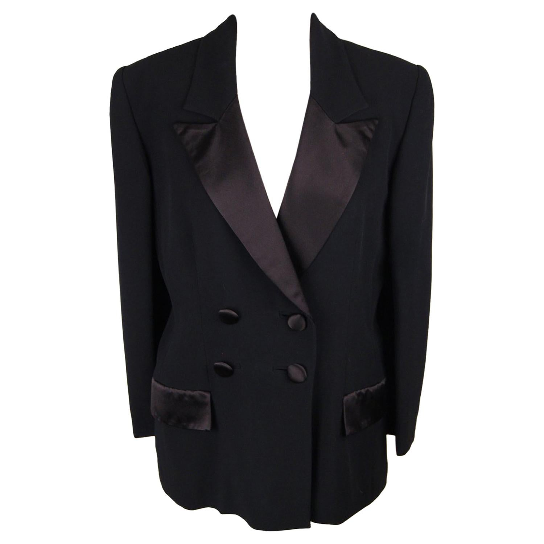 Gai Mattiolo Black Double Breasted Blazer Jacket Size 44