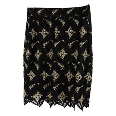 Gai Mattiolo Couture Vintage Black & Golden Macrame Skirt IT Size 42