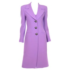 Gai Mattiolo Lavender Purple Dress and Coat Suit in Spring Summer Weight Wool