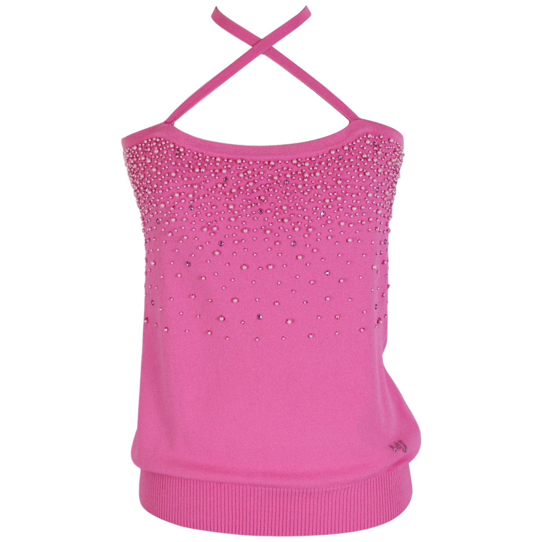 Gai Mattiolo Pink Beaded Sleeveless Shirt Evening Top