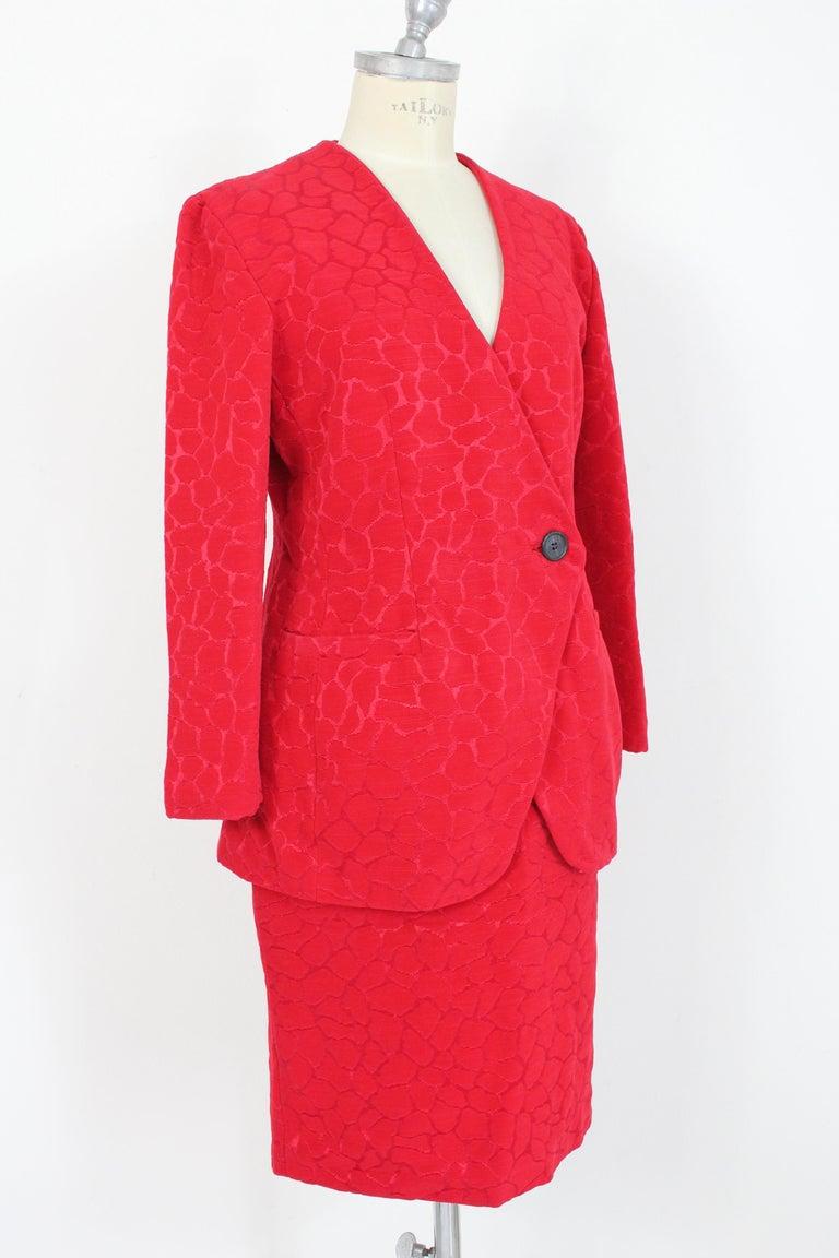 Women's Gai Mattiolo Red Silk Damask Evening Skirt Suit