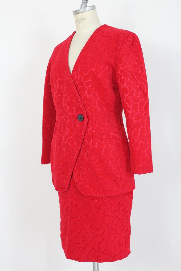Gai Mattiolo Red Silk Damask Evening Skirt Suit 1