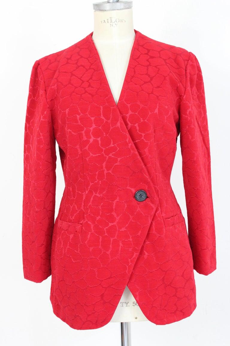 Gai Mattiolo Red Silk Damask Evening Skirt Suit 3