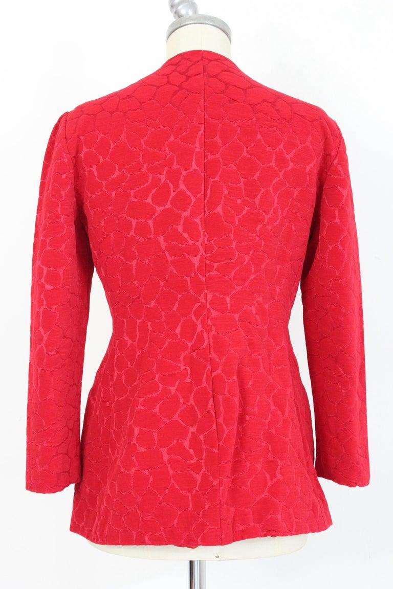 Gai Mattiolo Red Silk Damask Evening Skirt Suit 4