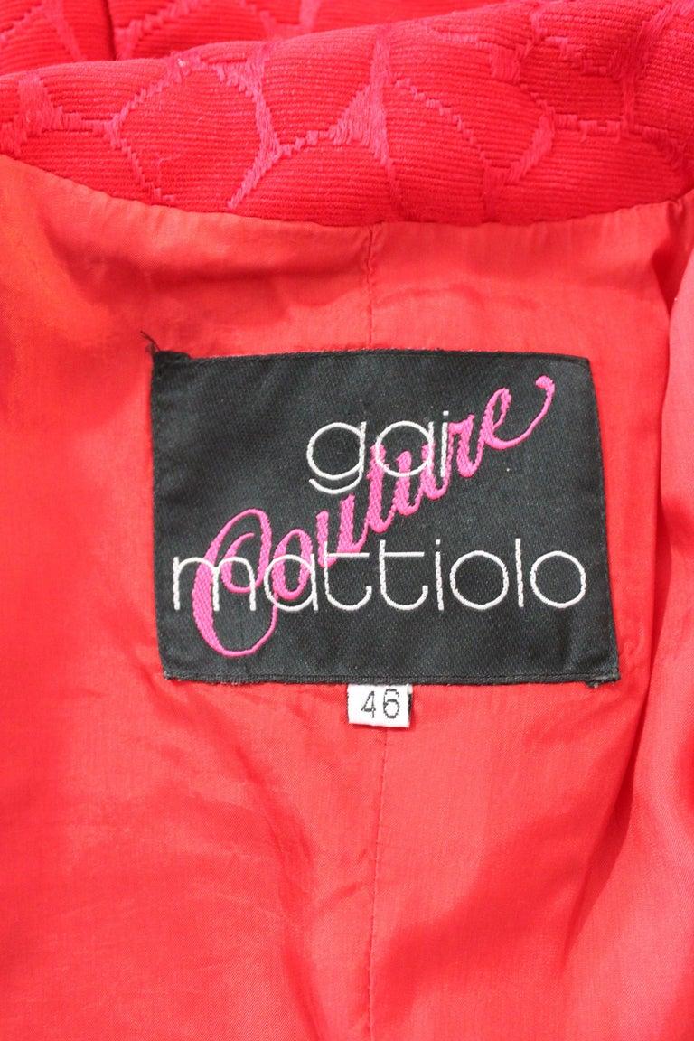 Gai Mattiolo Red Silk Damask Evening Skirt Suit 5