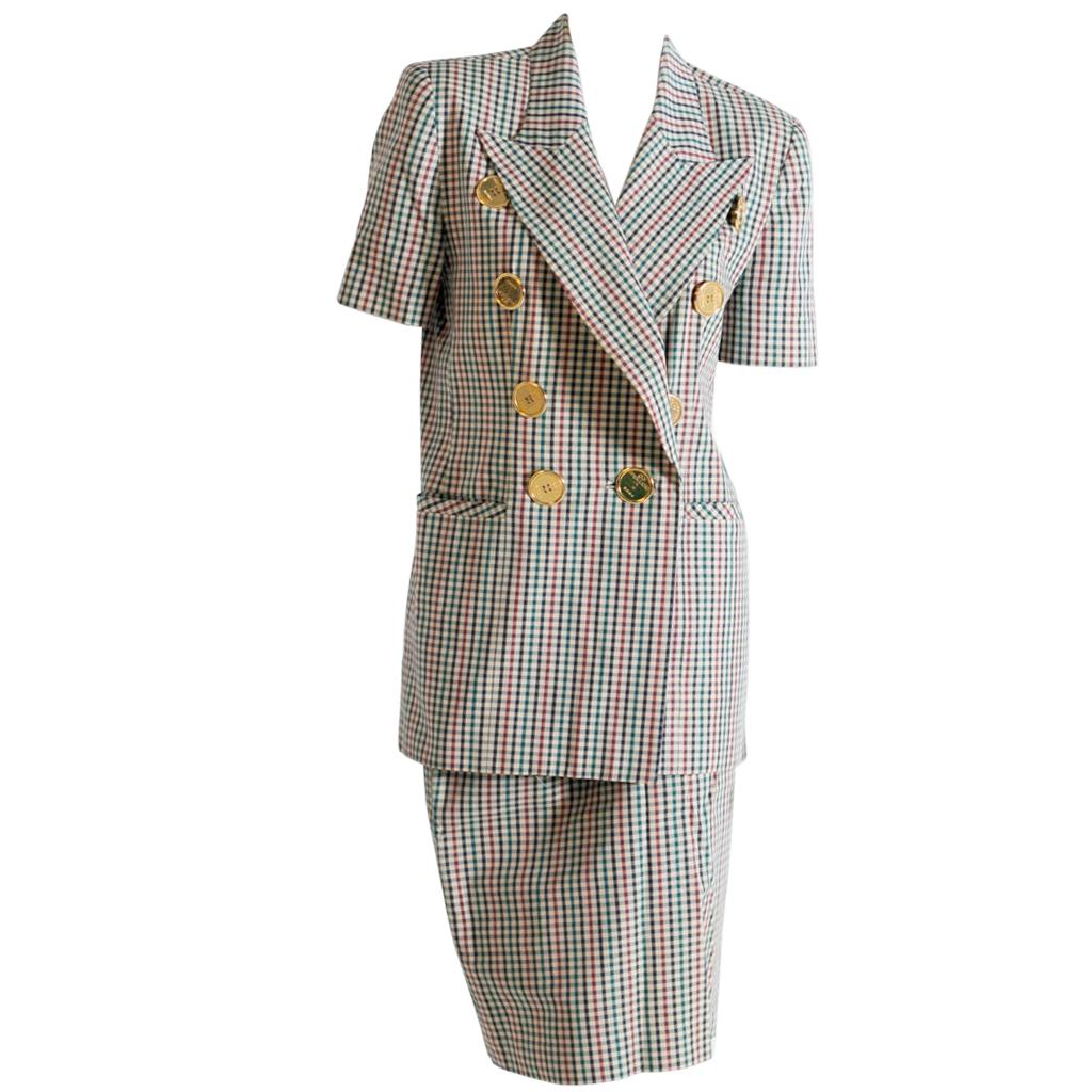 Gai Mattiolo Vintage green and red checkered suit with golden buttons, 1973