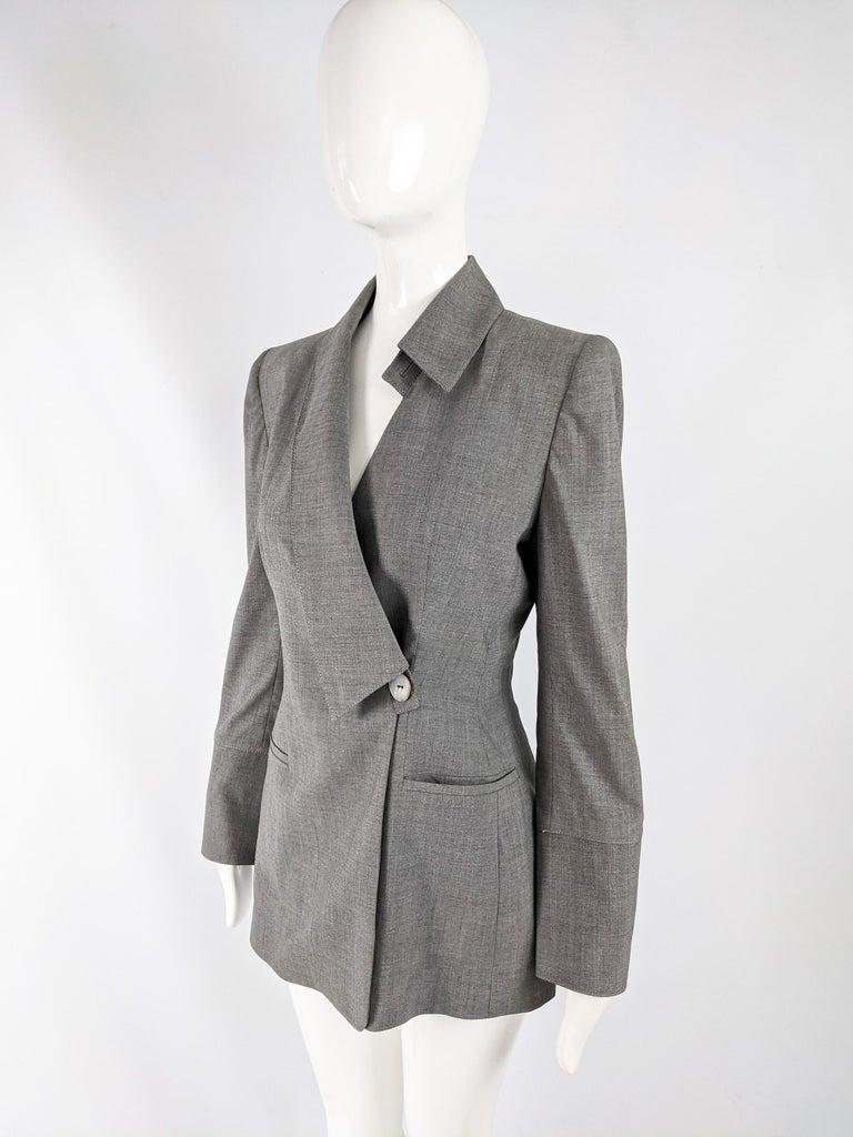 Gray Gai Mattiolo Vintage Womens Grey Wool Asymmetric Blazer Jacket