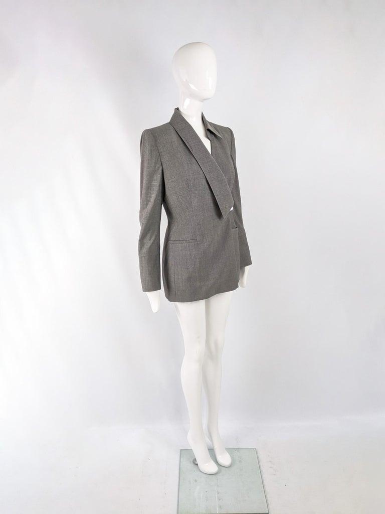Women's Gai Mattiolo Vintage Womens Grey Wool Asymmetric Blazer Jacket