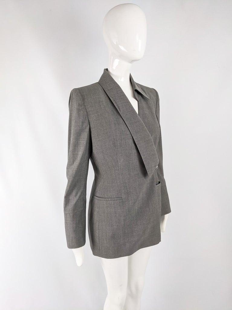 Gai Mattiolo Vintage Womens Grey Wool Asymmetric Blazer Jacket 1