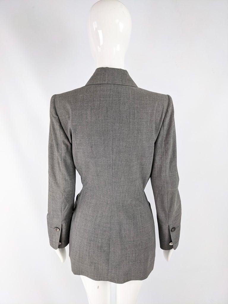 Gai Mattiolo Vintage Womens Grey Wool Asymmetric Blazer Jacket 2